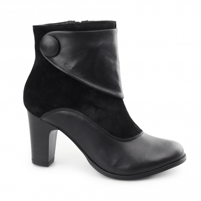 Hush Puppies WILLOW BROOK Ladies Leather/Suede Zip Boots Black