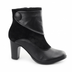 WILLOW BROOK Ladies Leather/Suede Zip Boots Black