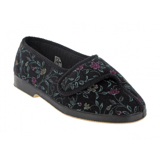 GBS WILMA Ladies Floral Extra Wide (EE) Fitting Slippers Black