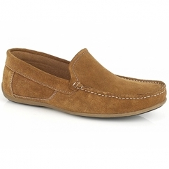WILSON Mens Suede Moccasin Driving Loafers Tan