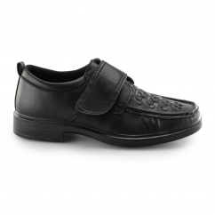 WINDERMERE Mens Smart Woven Touch Fasten Shoes Black