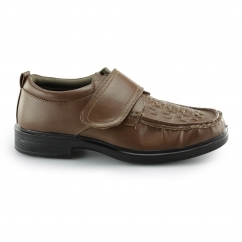 Dr Keller Windermere Mens Smart Woven Touch Fasten Shoes Brown