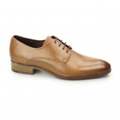 WISTER Mens Leather Plain Toe Derby Shoes Tan
