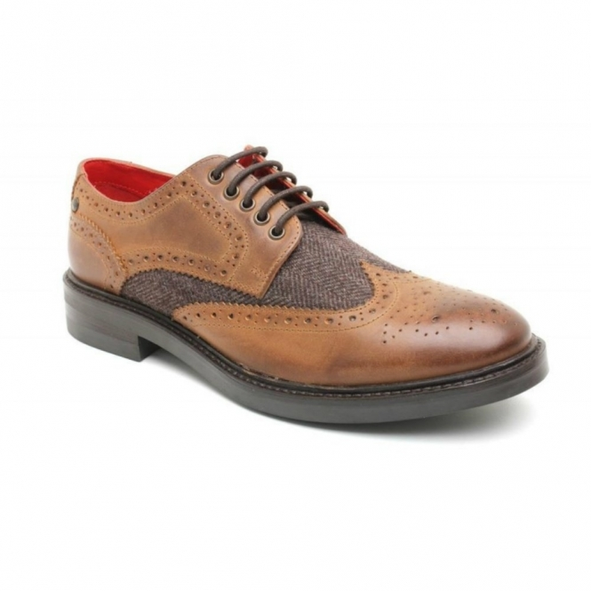 Base London WOBURN Mens Waxy Leather Tweed Brogue Shoes Tan