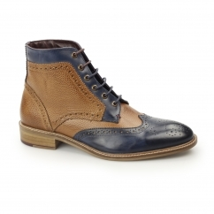HAMILTON Mens Leather Brogue Derby Boots Navy/Tan