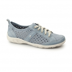 WOODBRIDGE Ladies Leather Lace Up Trainer Shoes Moroccan Blue