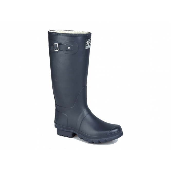 Woodland COUNTRY Wide Calf Unisex Buckle Wellington Boots Navy Blue