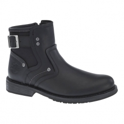 WOODRUFF Mens Wide Leather Zip Buckle Boots Black