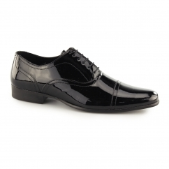 WOOTTON Mens Patent Leather Toe Cap Oxford Black