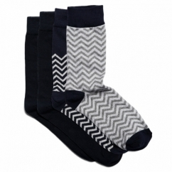 WOU Mens Cotton Socks 4 Pack Navy Blazer/Grey