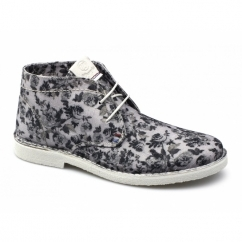CHURLISH FLOWERS Ladies Canvas Desert Boots Off White