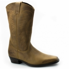 TEXAS HI Ladies Calf Length Leather Cowboy Boots Tan