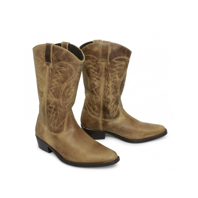 ef10a9d13b6 TEXAS HI Mens Calf Length Leather Cowboy Boots Tan