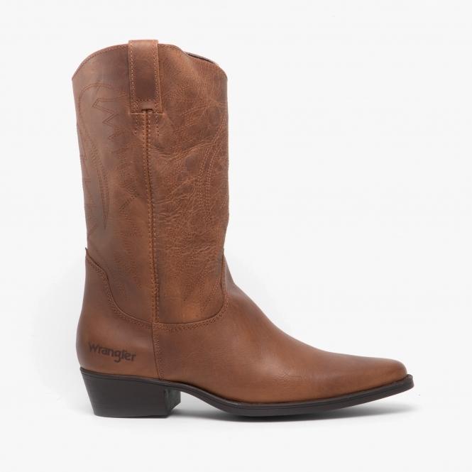 Wrangler TEXAS HI Mens Leather Cowboy