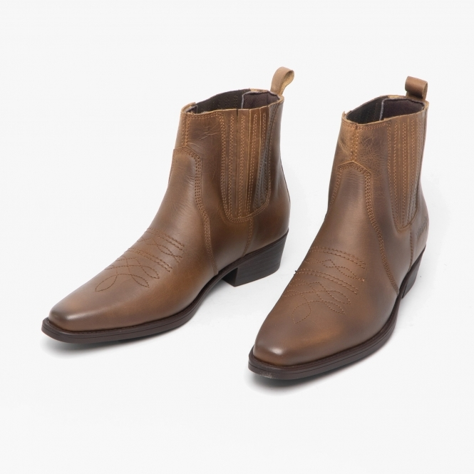 TEXAS II MID Mens Leather Ankle Cowboy Boots Tan