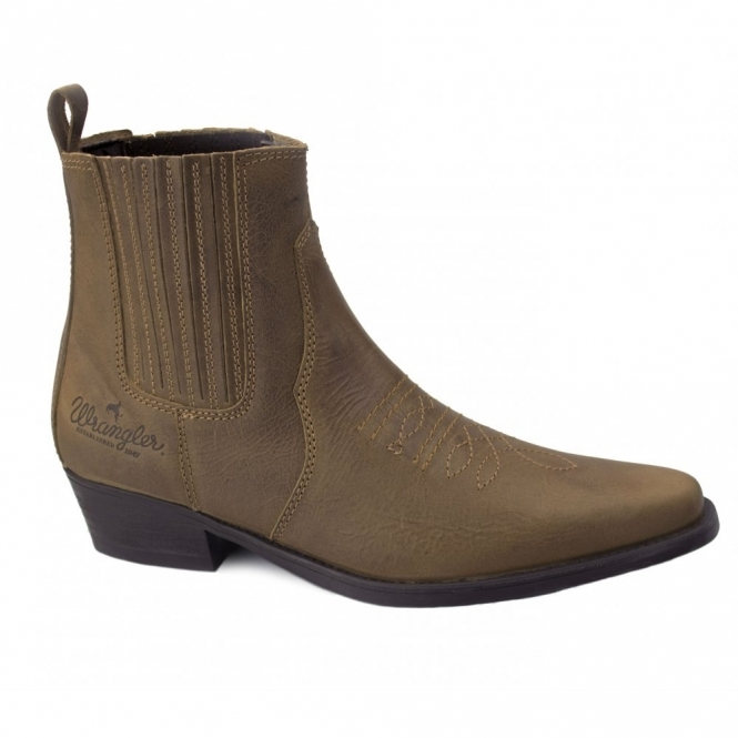 fc9f4df5a058b Wrangler TEXAS MID Mens Leather Cowboy Boots Tan Brown
