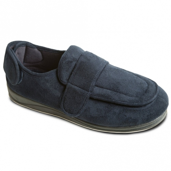 Padders WRAP Mens Microsuede Twin Velcro Wide Fit Full Slippers Navy