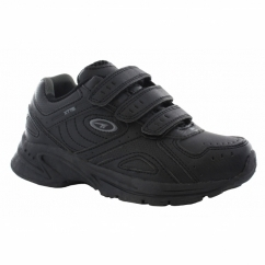 XT115 EZ Junior Touch Fasten School Trainers Black/Charcoal
