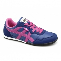 CASEY Ladies Nylon/Faux Suede Running Shoes Navy/Fuchsia