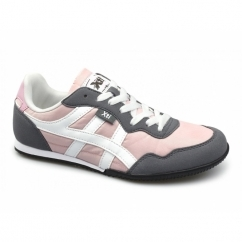 CASEY Ladies Nylon/Faux Suede Running Shoes Pink/Grey