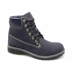 FRANKIE Mens Lace-Up Work Boots Navy