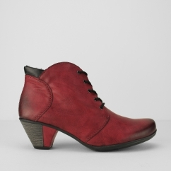 Rieker Y7220-35 Ladies Warm Lined Heel Ankle Boots Red