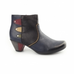 Y7273-14 Ladies Wool Lined Heel Ankle Boots Blue