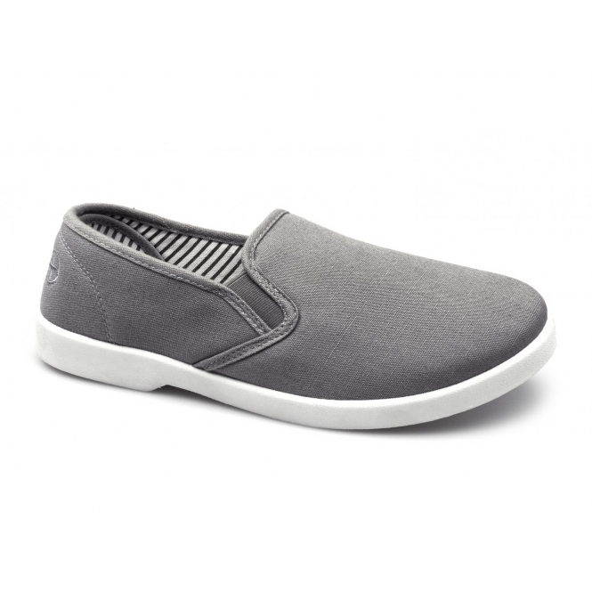 Dr Keller YACHT Mens Canvas Wide Fit Slip On Deck Shoes Grey