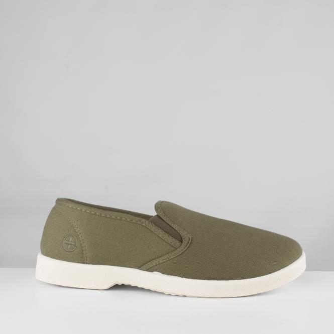 Official Website classic authentic quality YACHT Mens Canvas Wide Fit Slip On Deck Shoes Khaki