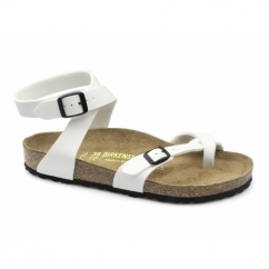 YARA Ladies Toe Strap Flat Sandals Patent White