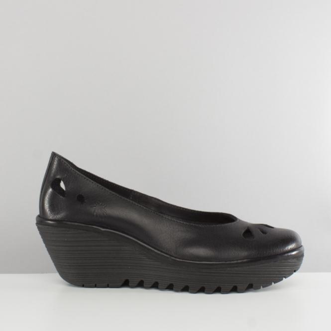 d0d5b67879b9c Fly London YERN832FLY Ladies Womens Wedge Heel Shoes Black   Shuperb