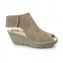 YONE Ladies Suede Leather Touch Fasten Cut Out Wedge Heels Taupe