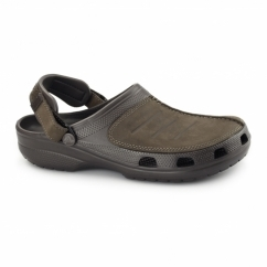 YUKON MESA Mens Croslite/Leather Clogs Espresso/Esspresso
