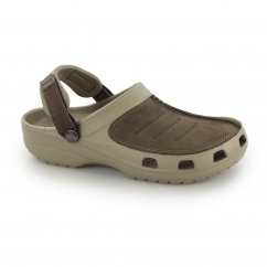 Crocs YUKON MESA Mens Croslite/Leather Clogs Khaki/Espresso