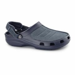 YUKON MESA Mens Croslite/Leather Clogs Navy/Navy