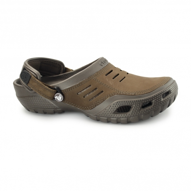 Crocs YUKON SPORT Mens Leather Croslite Clogs Espresso
