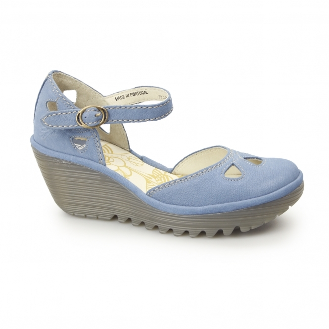 24e567d83ff83 Fly London YUNA Ladies Leather Wedge Heeled Sandals Blue   Shuperb