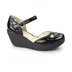 YUNA Ladies Patent Leather Cut Out Wedge Heeled Sandals Black