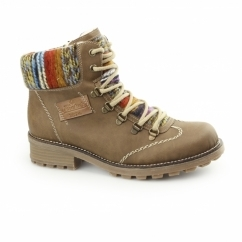 Z0443-22 Ladies Warm Lined Lace Up Ankle Boots Brown