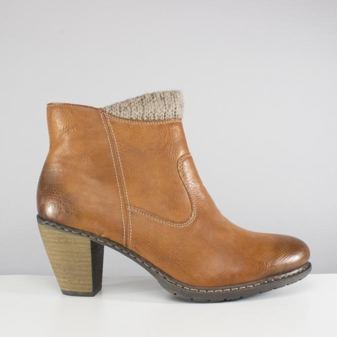 d45e9f49ec Rieker Z1552-24 Ladies Leather Zip Heel Warm Ankle Boots Brown | Shuperb