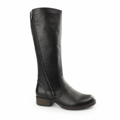 Z9581-00 Ladies Leather Zip Tall Winter Boots Black