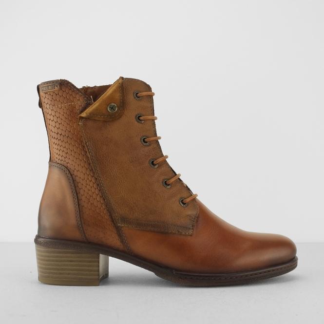 ZARAGOZA Ladies Leather Zip Up Mid Heel Ankle Boots Brandy