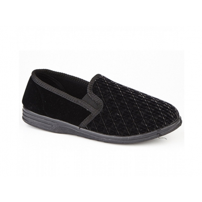 Zedzzz KEVIN Mens Textile Basic Slippers Black