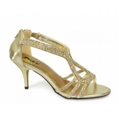 ZINA Womens Mid Heel Diamante Shoes Gold