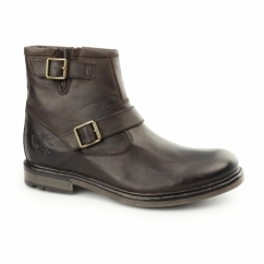 ZINC RUSTIC Mens Leather Zip Biker Boot Brown