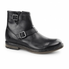 ZINC WAXY Mens Leather Zip Biker Boots Black