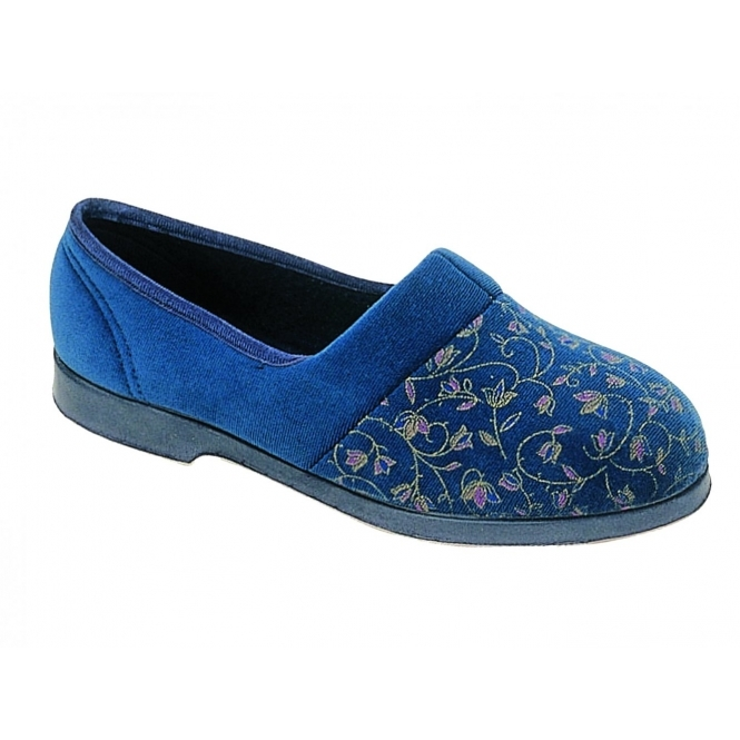 GBS ZOLA Ladies Extra Wide Fit Floral Slippers Blue